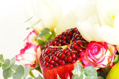 Bouquet with fruit and flowers Royalty Free Stock Photos