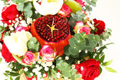 Bouquet with fruit and flowers Stock Photography