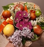 Bouquet, fruit, flowers, beautiful, bright,  colourful stock image