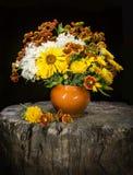 Bouquet of garden flowers: chrysanthemums, Gaillardias, sunflowe Royalty Free Stock Photos