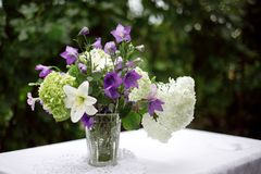 A bouquet of garden flowers stands in a vase royalty free stock photo