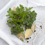 Bouquet Garni. Herbs and spices with twine and muslin, ready to make bouquet garni Royalty Free Stock Photography