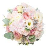 Bouquet of gentle flowers in the box isolated on white background Stock Images