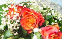Bouquet of gentle red and yellow  roses Royalty Free Stock Image