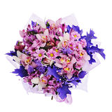 Bouquet of gerbera, carnations and other flowers in blue package Royalty Free Stock Images