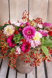 Bouquet of gerbera and dahlia flowers Royalty Free Stock Image