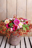 Bouquet of gerbera and dahlia flowers Royalty Free Stock Images
