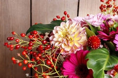 Bouquet of gerbera and dahlia flowers Royalty Free Stock Photo