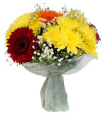 Bouquet of gerbera flowers and chrysanthemums Royalty Free Stock Image