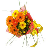 Bouquet from Gerbera Flowers Isolated on White Background. Royalty Free Stock Image