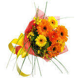 Bouquet from Gerbera Flowers Isolated on White Background. Stock Photo
