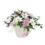 Bouquet from Gerbera Flowers in Vase Isolated on White Backgroun Stock Image