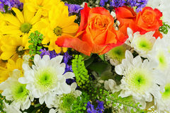 Bouquet of gerbera, roses and other flowers . Royalty Free Stock Images