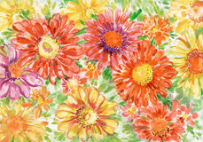 Bouquet of gerberas. Bright bouquet of gerberas flowers close up for postcards. Painting in gouache on paper Stock Images