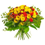 Bouquet of gerberas, roses and strawberry Royalty Free Stock Photos