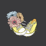Bouquet of gerberas and sneakers. Vector illustration for a card or poster. Stock Images