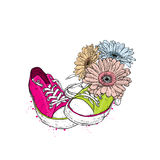 Bouquet of gerberas and sneakers. Vector illustration for a card or poster. Royalty Free Stock Images