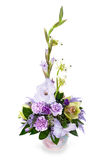 Bouquet from gladioluses. Colorful flower bouquet from gladioluses arrangement centerpiece in vase  on white background Stock Images