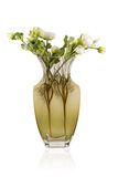 Bouquet in a glass matt vase. Artificial bouquet of white peonies in a glass matt vase isolated on white background Royalty Free Stock Images