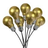 Bouquet of golden light bulbs with aluminium caps Stock Photo