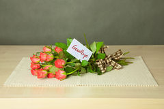Bouquet with goodbye card Stock Image