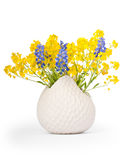 Bouquet of Grape Hyacinths and Basket of Gold Stock Photos