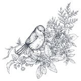 Bouquet with hand drawn blossom branches and bird. Royalty Free Stock Photo