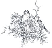Bouquet with hand drawn blossom branches and birds.