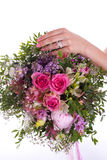 Bouquet, hand and ring. Betrothal bouquet, hand and ring Royalty Free Stock Image