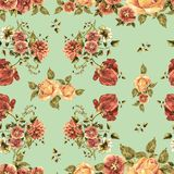 Watercolor bouquet flowers on a light green background. Floral seamless pattern. Bouquet handmade  background pattern seamless watercolor color floral original Royalty Free Stock Photos