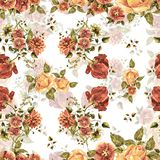 Watercolor bouquet flowers and shade on a white background. Floral seamless pattern. Bouquet handmade  background pattern seamless watercolor color floral Royalty Free Stock Photography