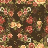Watercolor bouquet flowers on a brown background. Floral seamless pattern. Bouquet handmade  background pattern seamless watercolor color floral original Royalty Free Stock Photos