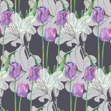 Graphic flowers blue tulip with lily on a gray background. Floral seamless pattern. Bouquet handmade  background pattern  watercolor color floral original Stock Photos