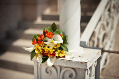 Bouquet on a handrail Royalty Free Stock Photos