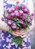 Bouquet in hands. Beautiful bouquet of wild flowers clover stock photo