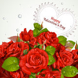 Bouquet with a happy Valentine`s day card Royalty Free Stock Image