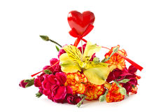 Bouquet with a heart Royalty Free Stock Photo