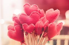 Bouquet of heart-shaped flowers. Love background for valentine`s. Day, mother`s day or express love Royalty Free Stock Photo