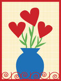 Bouquet of Hearts. Blue vase with heart shaped flowers with yellow background Vector Illustration