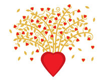 Bouquet of Hearts. Illustration of golden vines with leaves and hearts growing from a large red heart. EPS8 vector file also available Royalty Free Stock Photography