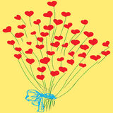 bouquet of hearts on a yellow background Royalty Free Stock Images