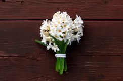 Bouquet of Hyacinths during Spring. Background - old table royalty free stock image