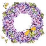 Bouquet hydrangea flower , garland butterflies  watercolor Royalty Free Stock Photos
