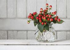 Bouquet of hypericum plants twigs with red berries royalty free stock images