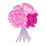 Bouquet illustration made of peonies Royalty Free Stock Photos