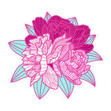 Bouquet illustration made of peonies Stock Photo