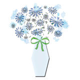 Bouquet In Blue Vase With Bow Royalty Free Stock Images