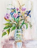 Bouquet of irises in bank Royalty Free Stock Photo