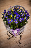 Bouquet of irises in a basket Stock Photo