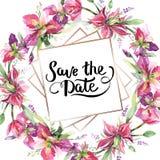 Bouquet with irises floral botanical flowers. Watercolor background illustration set. Frame border ornament square. Bouquet with irises floral botanical flowers vector illustration